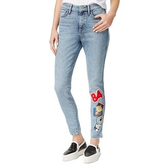 Guess Womens Skinny Jeans Patchwork Acid Wash