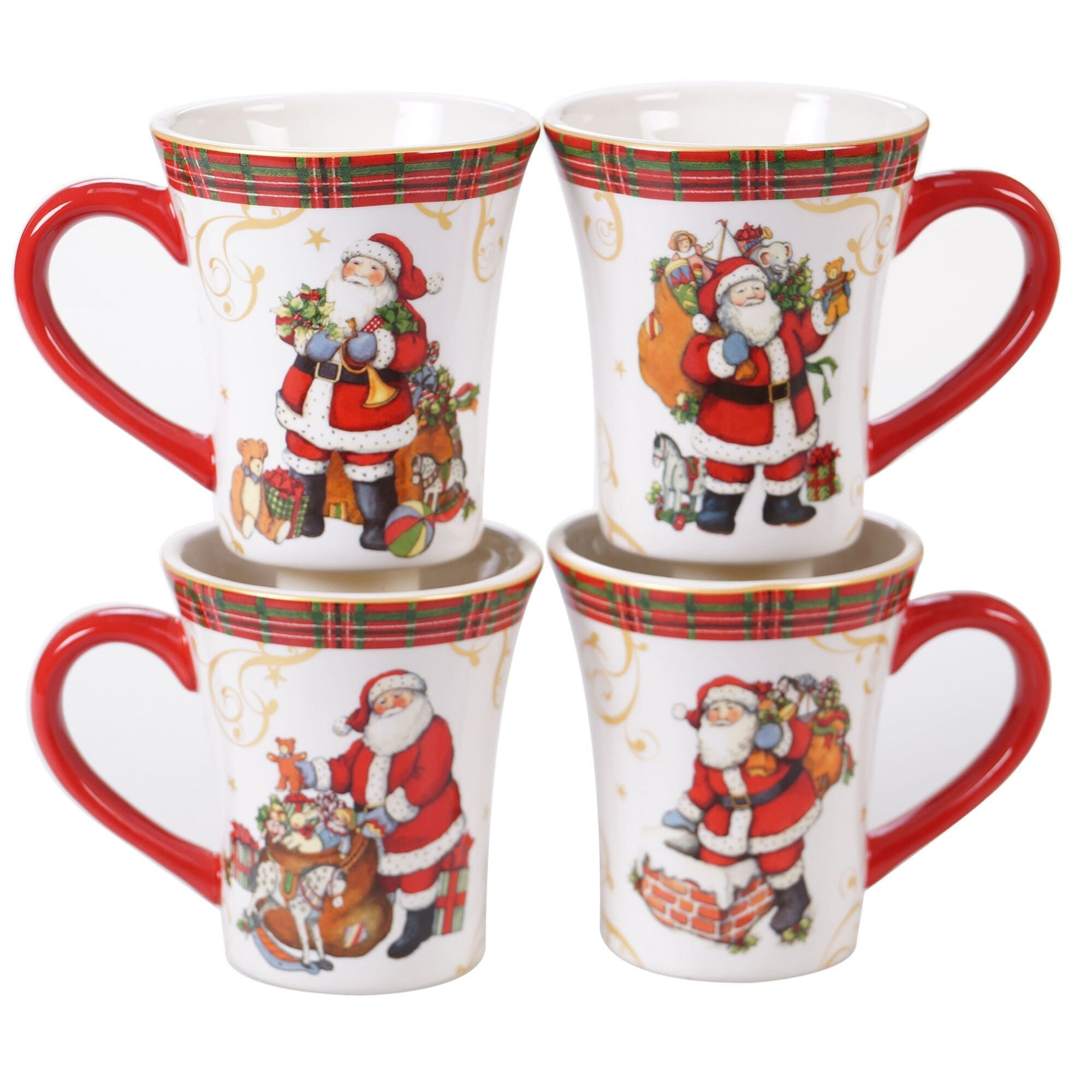 4pc Red And White Traditional Style Santa Mug Set 5 5 Overstock 31710675