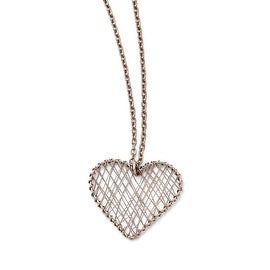 Chisel Stainless Steel Wired Pink IP-plated Heart Polished Necklace (2 mm) - 17.5 in