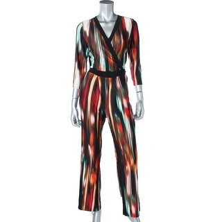 NY Collection Womens Petites Printed V-NECK Jumpsuit - pm