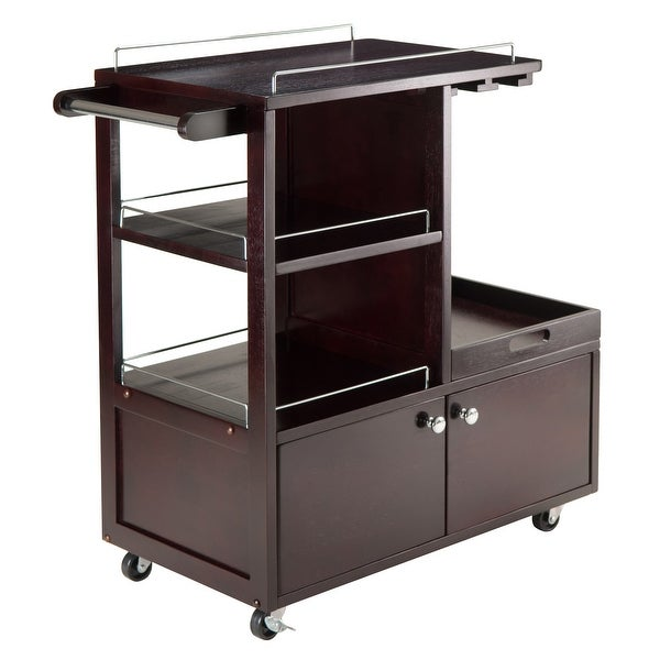 """34.25"""" Espresso Brown Galen Entertainment Cart with Metal Accent - N/A"""