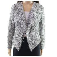 Insight White Women's Size 4 Fringed Marled Knit Open Jacket