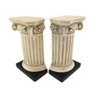 Beautiful Roman Column Bookends - White