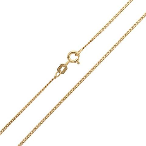 Curb Cuban Link Chain 2.5 mm 40 Gauge For Women 14k Gold Plated 925 Sterling Silver Made In Italy
