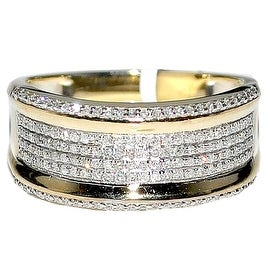 Mens Diamond Wedding Band Ring 10K Yellow Gold .45cttw 10mm Wide Pave Set Ring