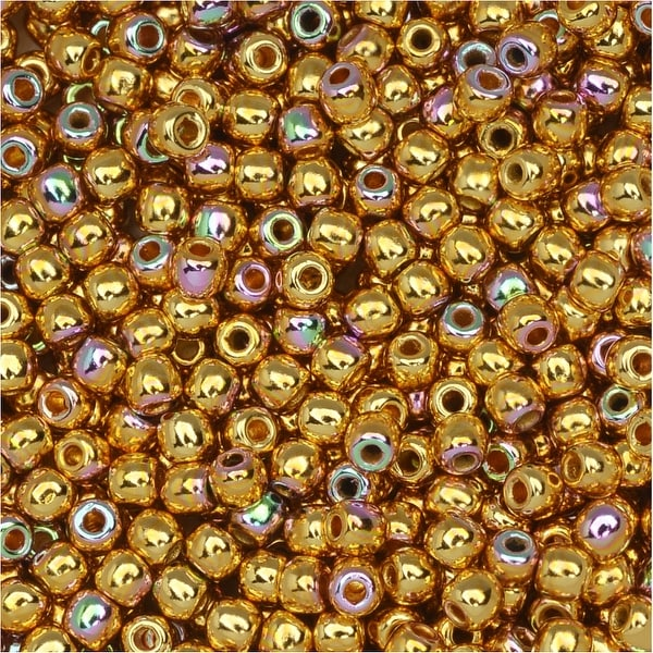 True2 Czech Glass, Round Druk Beads 2mm, 200 Pieces, 24K Gold Plated AB
