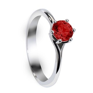 SCARLETT Six Prong Round Solitaire Ruby Palladium Engagement Ring with Polished Finish - Red