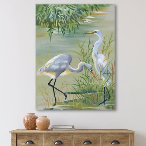 Designart 'Heron Birds I' Traditional Canvas Wall Art Print