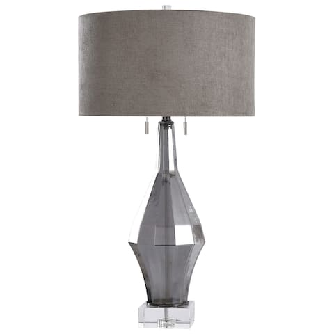 Harp & Finial Marion Smoke Table Lamp with Gray Shade