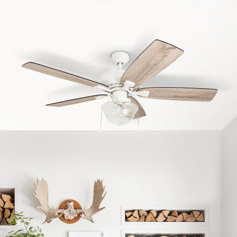 The Gray Barn Langdale 52-inch Coastal Indoor LED Ceiling Fan with Pull Chains 5 Reversible Blades - 52