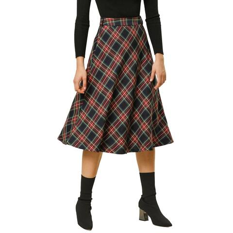 Women's Plaid Check Belted Swing Midi Skirt High Waist Grid Tartan Flare Swing Skirts - Dark Blue