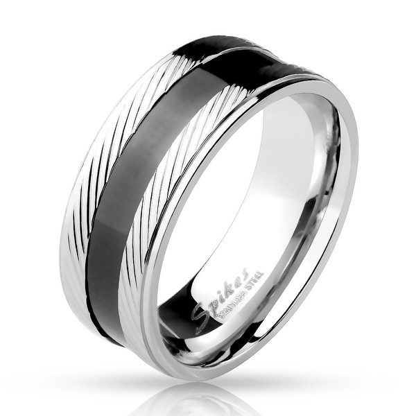 Step Edge Diagonal Lines with Black Center Stainless Steel Ring (Sold Ind.)