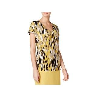 Kasper Womens Petites Pullover Top Printed V-Neck