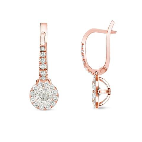 Auriya 1/2ctw Round Halo Diamond Dangle Earrings 14k Rose Gold