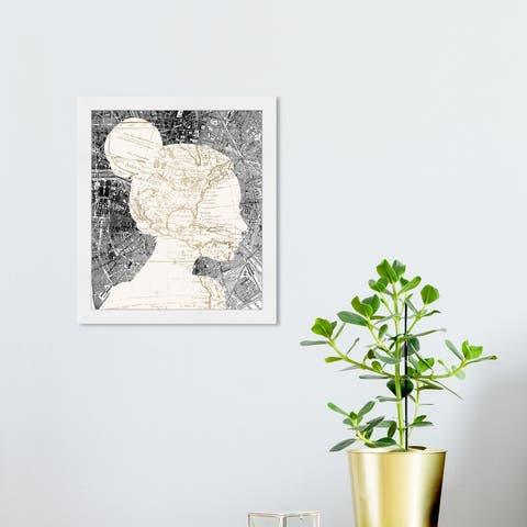 Oliver Gal 'The Map Lover' Maps and Flags Wall Art Framed Print World Maps - White, Gray