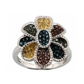 Gorgeous 0.51ct Round Brilliant Cut Real Multi Color Diamond Designer Ring