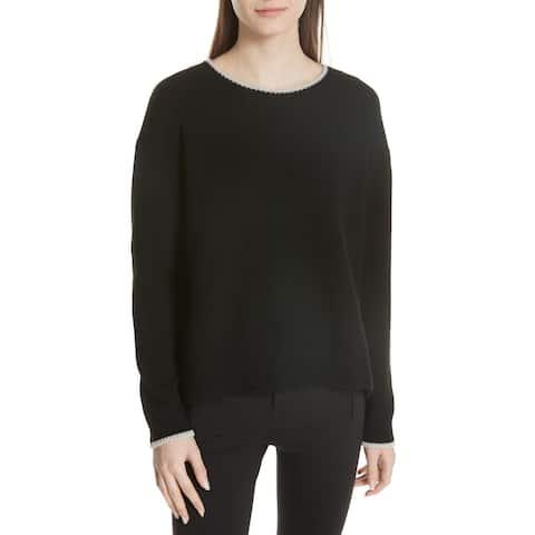 Vince Womens Sweater Black Size Large L Crewneck Drop-Shoulder Knit