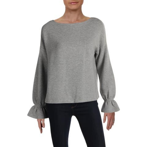 French Connection Womens Pullover Sweater Heathered Flounce Sleeve - Grey - XS