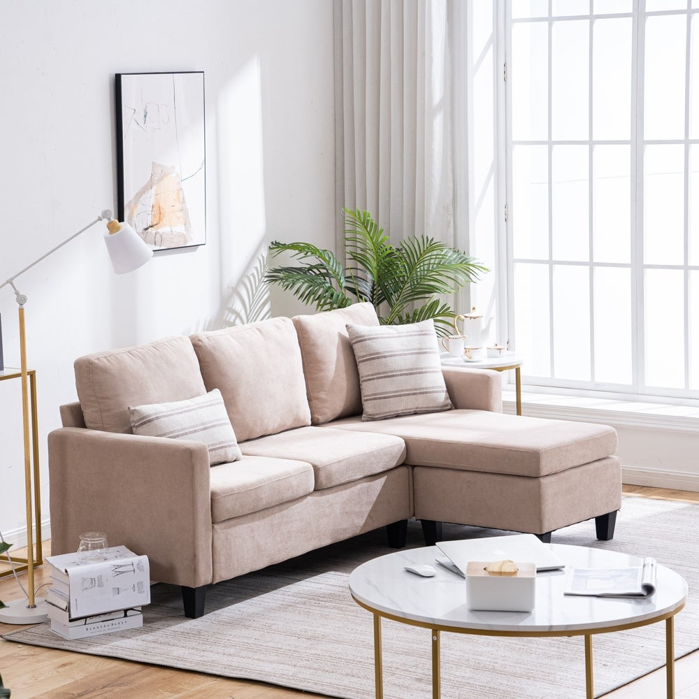 Living Room Furniture Double Chaise Longue Combination Sofa Beige Overstock 31908356