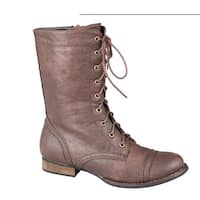 Refresh Libby-01 Women's Short Version Combat Boots On Traction Outsole With ...