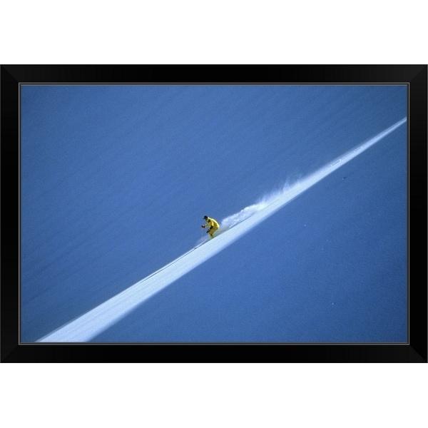 """Off-piste skier on untouched snow field"" Black Framed Print"