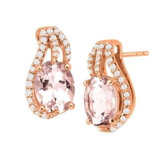 2 1/5 ct Natural Morganite & 1/5 ct Diamonds Stud Earrings in 14K Rose Gold