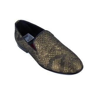 Roberto Cavalli Mens Bronze Lurex Quilted Brocade Loafers