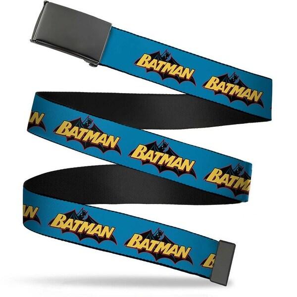 Blank Black Buckle Vintage Batman Logo Blue Webbing Web Belt