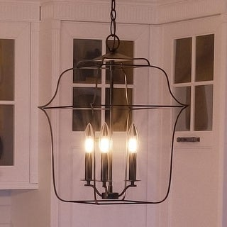 "Luxury Colonial Chandelier, 14.75""H x 10""W, with Minimalist Style, Bird Cage Design, Vintage Black Finish"