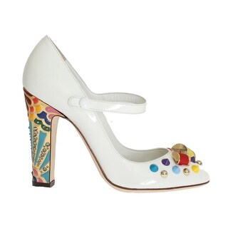 Dolce & Gabbana Dolce & Gabbana White Leather Crystal Studded Mary Janes Pumps