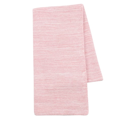 Lambs & Ivy Signature Pink/White 100% Cotton Marl Textured Knit Baby Blanket
