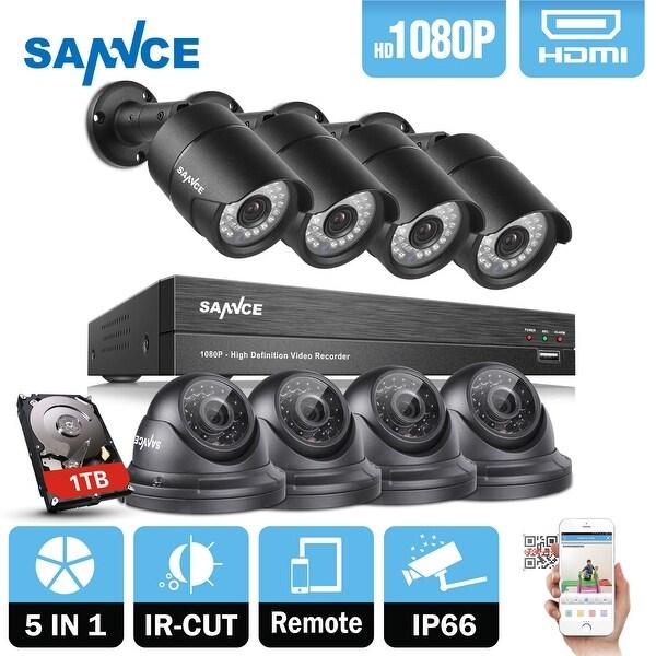 SANNCE 1080P HD 1080P Network Video Surveillance System 8 Cameras 1TB
