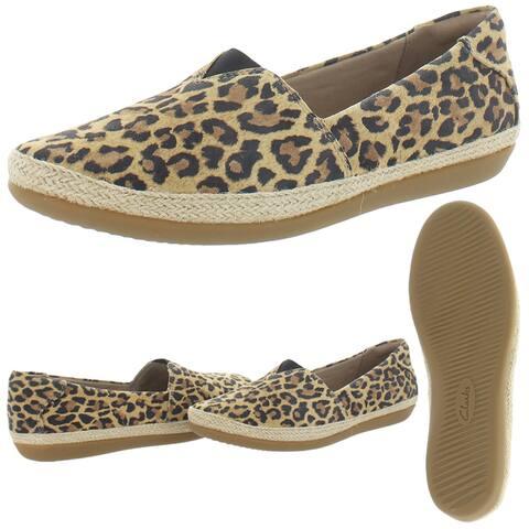 Clarks Collection Women's Danelly Sky Suede Espadrille Loafer Flat Sneaker - Leopard Print