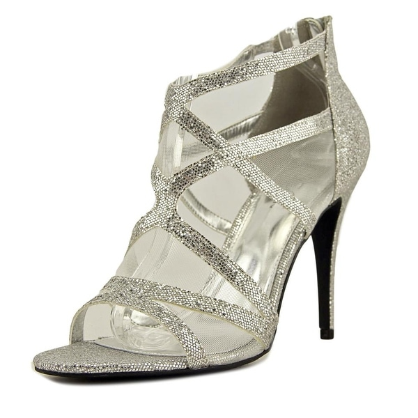 Sugar Vanilla Women Open Toe Synthetic Silver Platform Heel