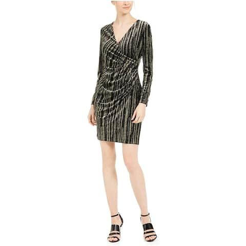 Calvin Klein Women's Glitter Faux Wrap Long Sleeve Sheath Dress, Gold, 4P