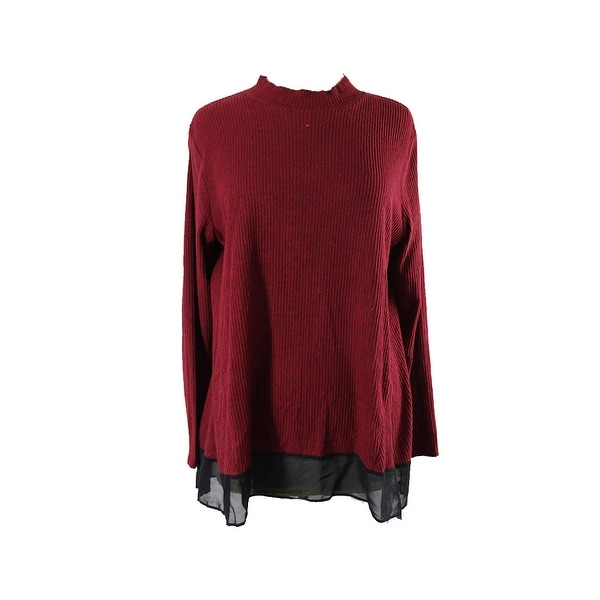 f40c1394e65 Shop Style Co Plus Size Red Mock-Neck Top 3X - Free Shipping On ...