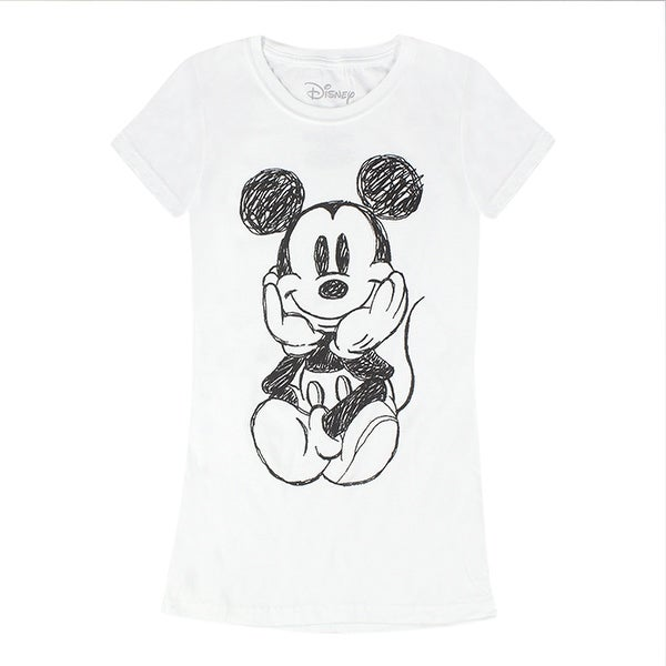 a3f5332f54 Shop Disney Mickey Mouse Sketch Women s White T-shirt - Free Shipping On  Orders Over  45 - Overstock - 17067081