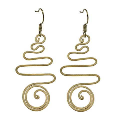 Handmade Spiraling Brass Illusion with Twist Dangle Earrings (Thailand)