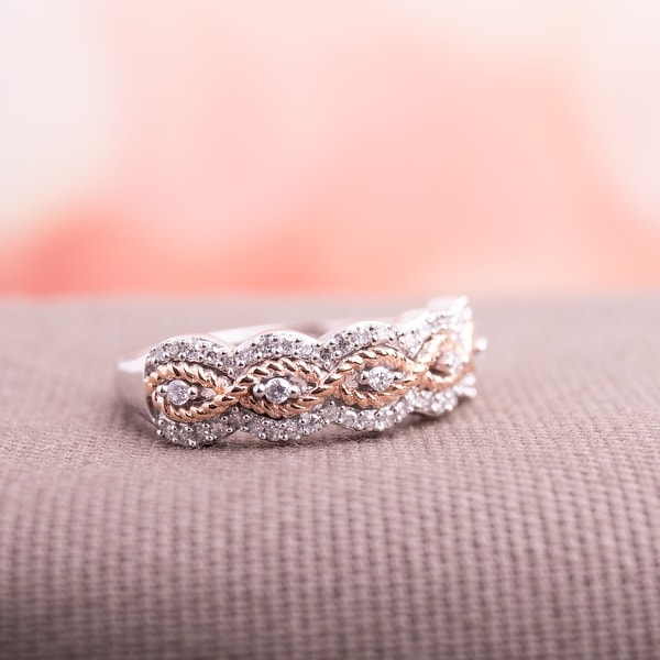 Miadora Signature Collection 2-Tone 10k Rose and White Gold 1/4ct TDW Diamond Infinity Anniversary Band. Opens flyout.