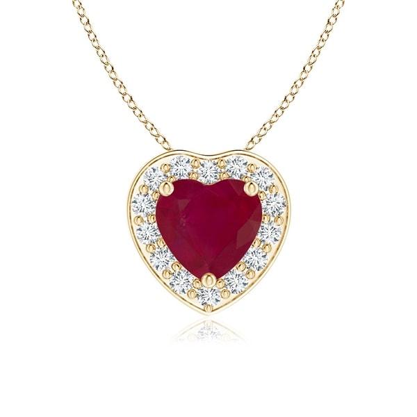 Angara Heart-Shaped Tanzanite Pendant with Diamond Halo UOvPs