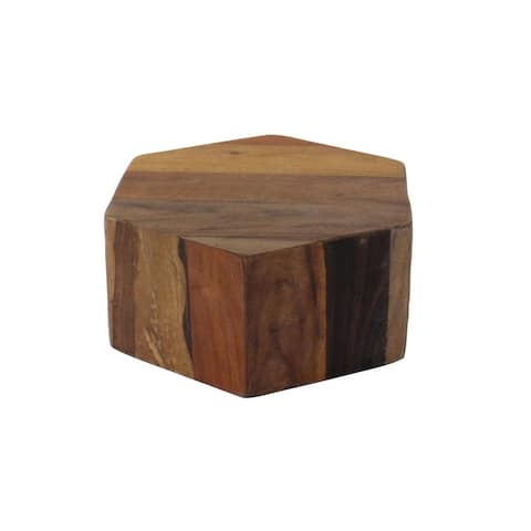 Hexagonal Wooden Block Table with Grain Details and Texture, Small, Brown - 6 H x 14 W x 14 L Inches