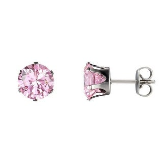 Round Cut 3mm Cubic Zirconia Stainless Steel Earrings Pink Solitaire Studs
