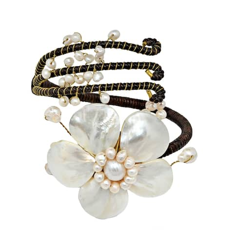Handmade Blooming White Flower and Pearl Embellishment Chic Cuff (Thailand)