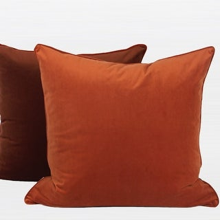 "G Home Collection Luxury Orange And Brown Two Color Flannel Fabric Pillow 20""X20"""