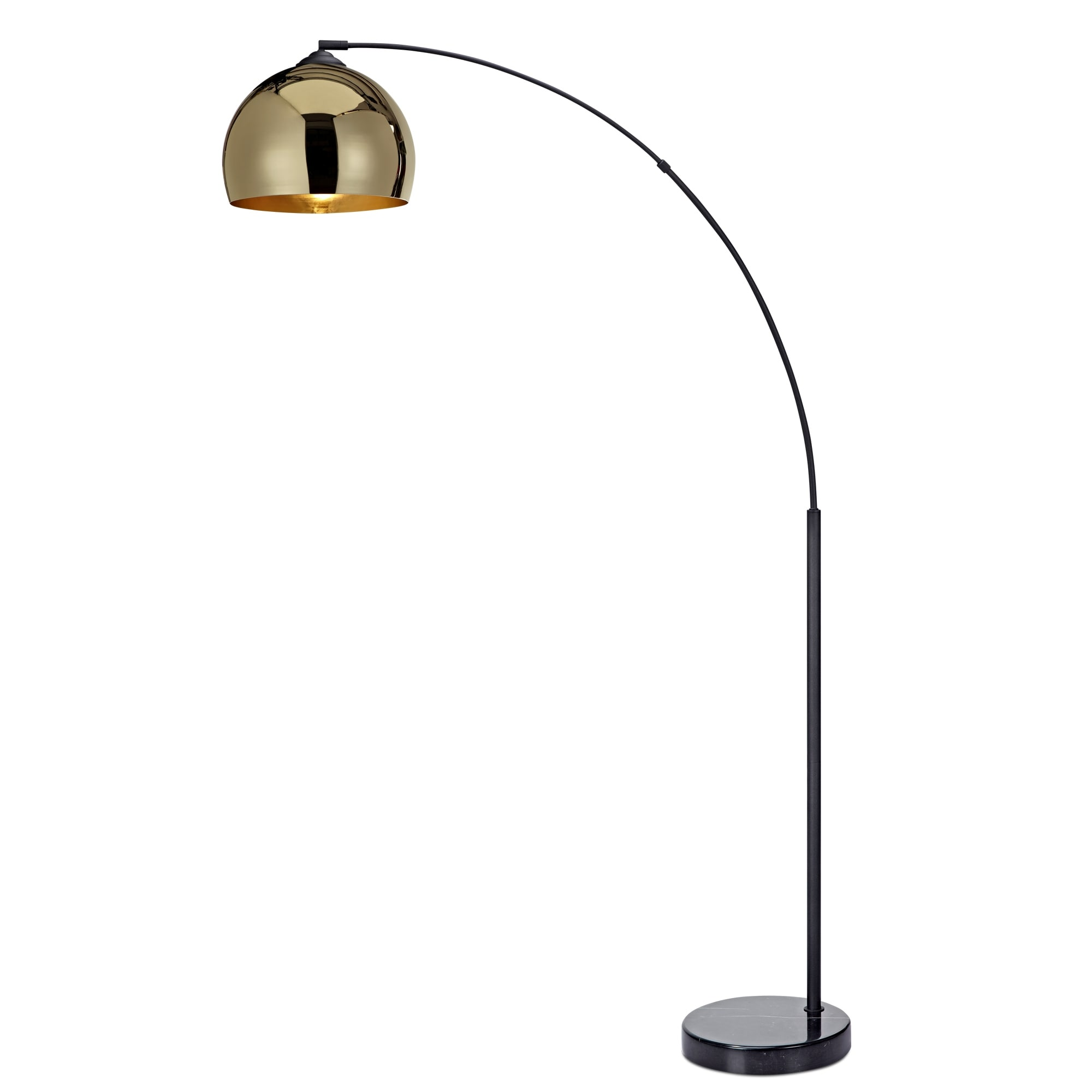 Image of: Shop Black Friday Deals On Versanora Arquer Arc Floor Lamp With Gold Shade And Black Marble Base Overstock 11607882