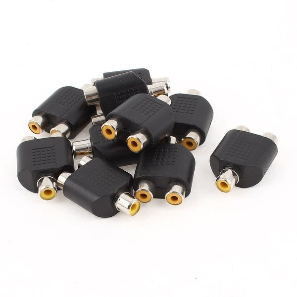 10 Pcs Stereo Female Plug to Dual RCA Female Jack Audio Splitter Connector