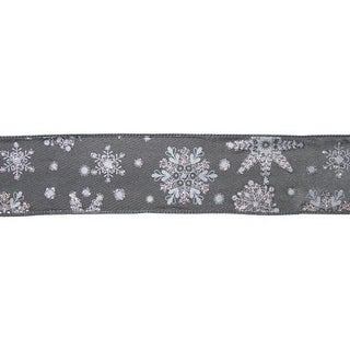"Grey and White Snowflake Floral, Craft and Christmas Ribbon 2.5"" x 60 Yards"