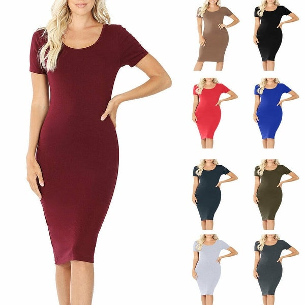 NioBe Clothing Womens Short Sleeve Cotton Bodycon Knee Length Midi Dress