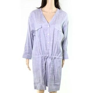 DKNY NEW Denim Blue Womens Size Medium M Drawstring V Neck Shirt Dress