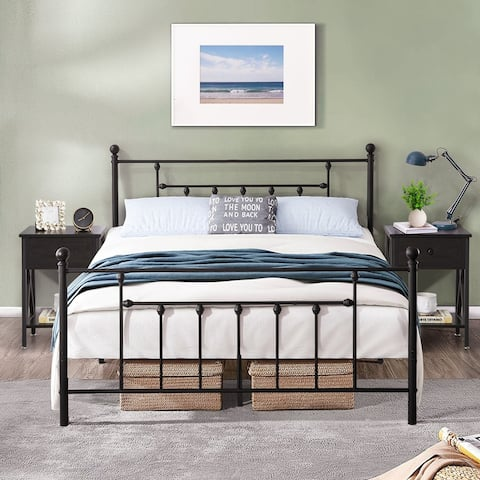 Taomika 3 Pieces Mental Platform Bed and Modern Nightstands Bedroom Sets